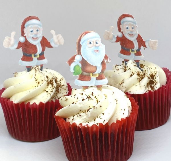 Christmas Toppers For Cupcakes.Father Christmas Reindeer Edible Cupcake Toppers